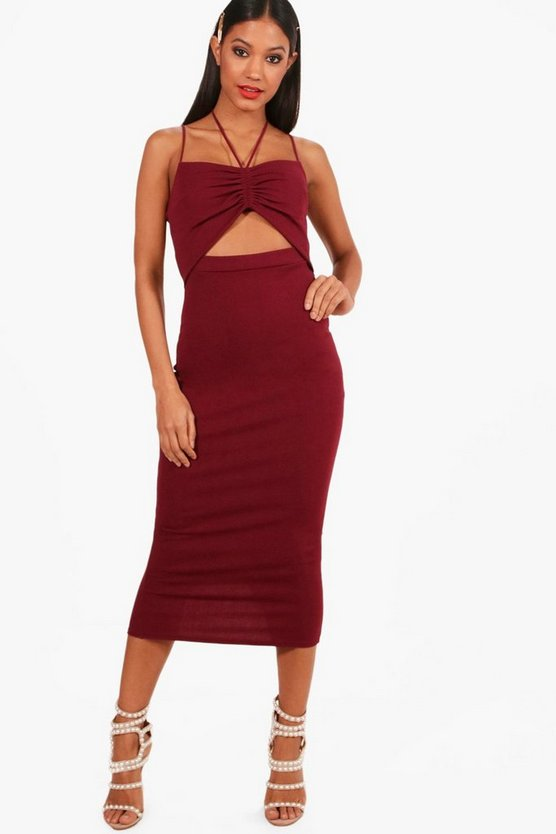 Womens Berry Strappy Ruched Cut Out Detail Midi Dress