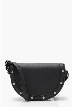 Womens Black Semi Circle Saddle Bag