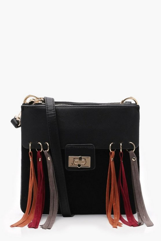 Double Gusset & Tassel Cross Body, Black, DAMEN