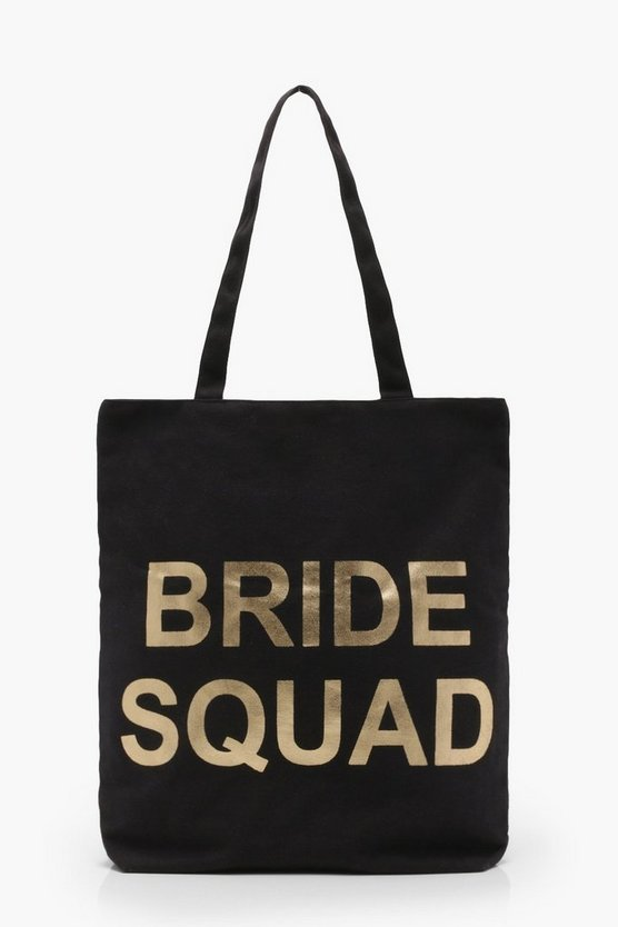 Womens Black Bride Squad Shopper Bag