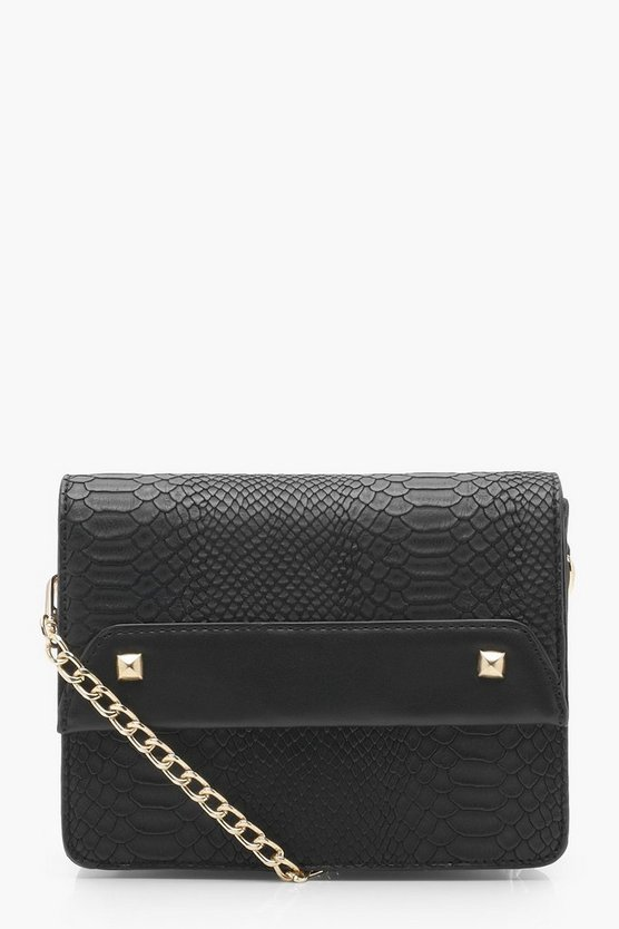 April Faux Snake & Cross Body Bag, Black, Donna