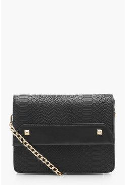 Womens Black April Faux Snake & Cross Body Bag