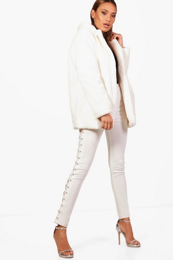 Womens Cream Faux Fur Collared Coat