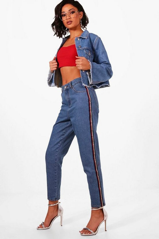 Womens Mid blue Sports Stripe Roll Hem Mom Jeans