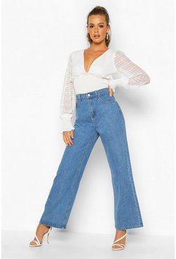 Womens Mid blue High Rise Stonewashed Rigid Wide Leg Jeans
