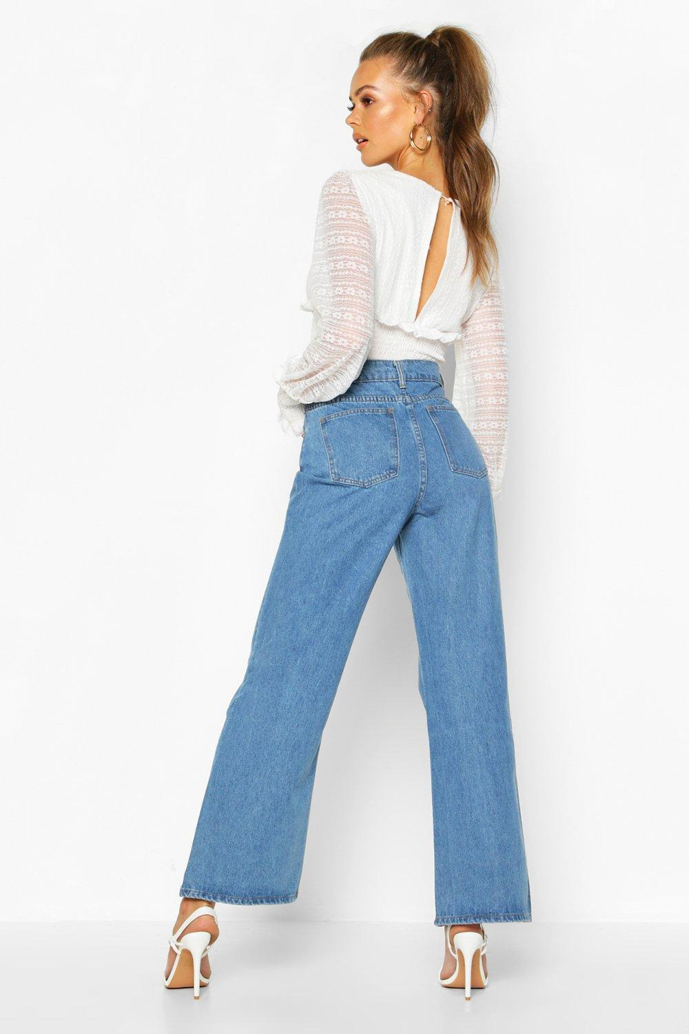 Leg mid Jeans Stonewashed blue Wide Rigid vvxIwrqEt