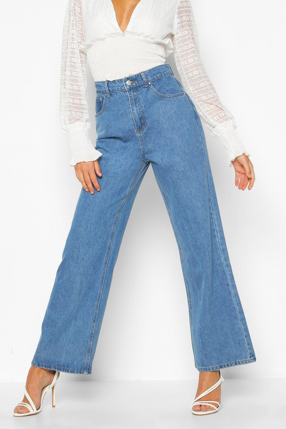 Wide Leg mid Stonewashed blue Rigid Jeans BHqxE5xw