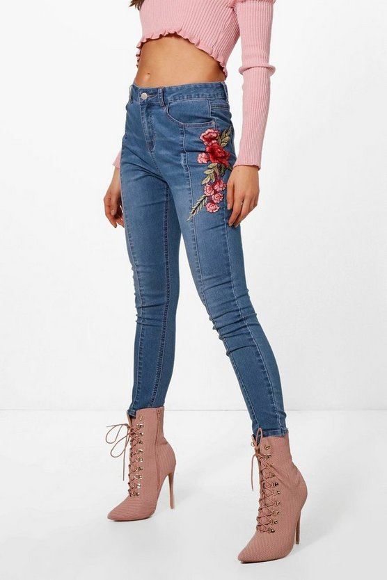 Seam Front Floral Embroidered Skinny Jeans