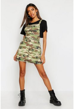 Womens Camo Print Denim Pinafore Dress
