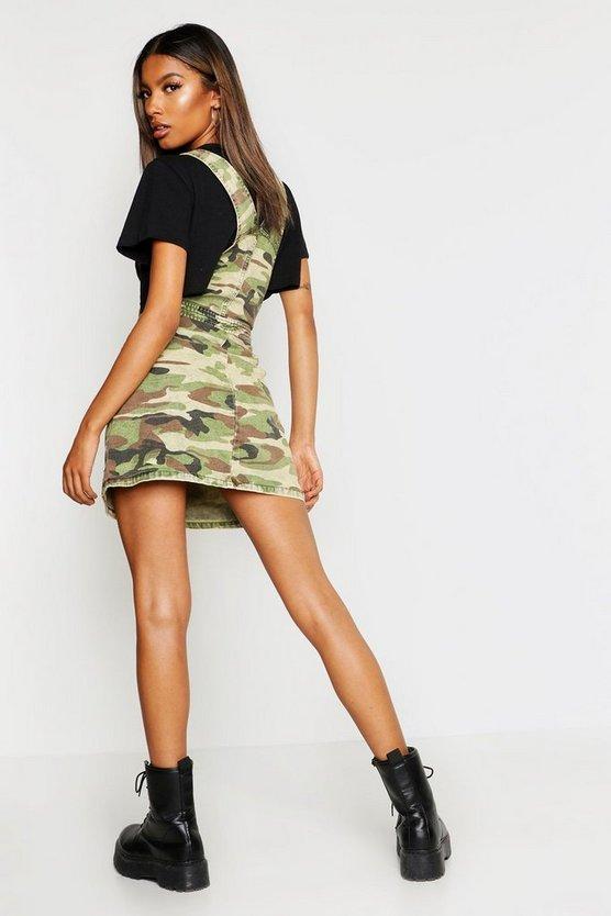 Camo Print Denim Pinafore Dress