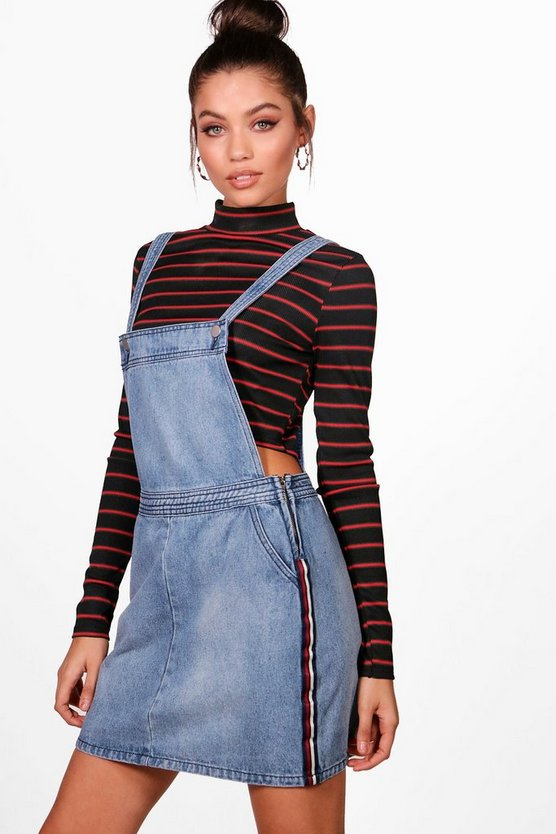 Sports Stripe Denim Pinafore Dress