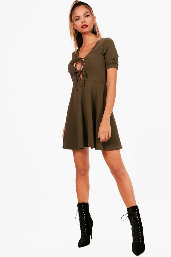 Tie Front Ruched Sleeve Mini Skater Dress