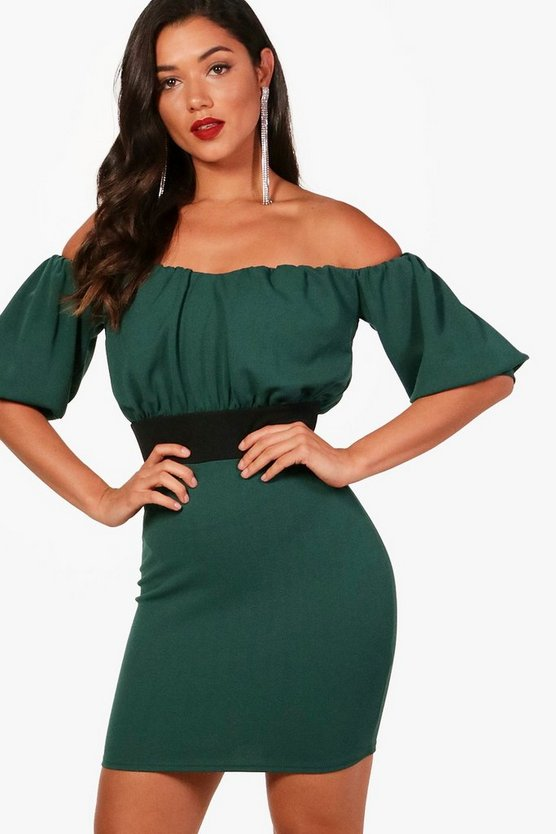 Off the Shoulder Puff Sleeve Mini Dress