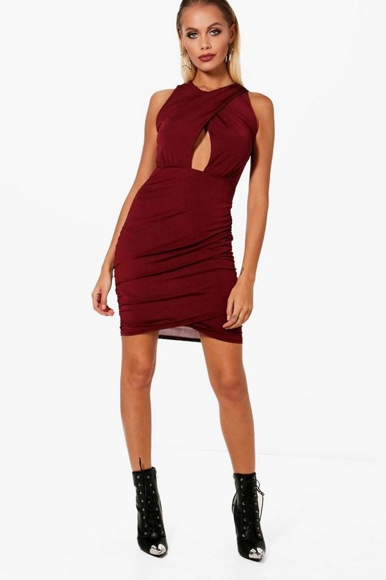 Cross front Ruched Side Bodycon Dress