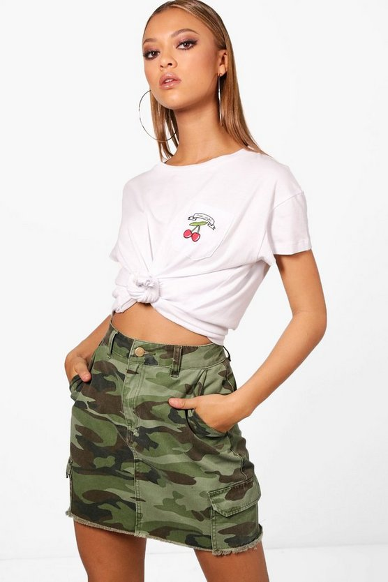 Womens White Beth Embroidered Slogan Pocket Tee