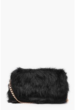 Womens Black Foldover Faux Fur Cross Body