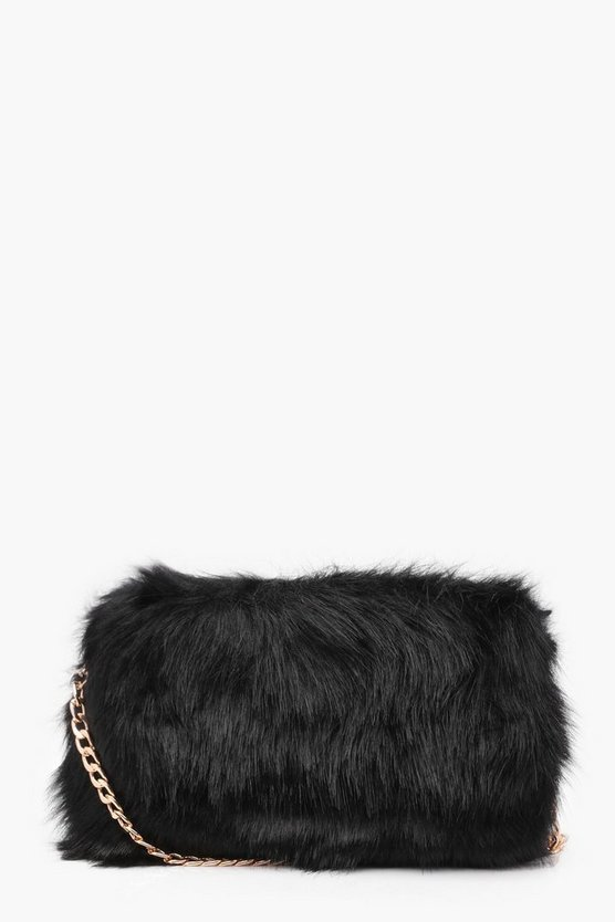 Womens Foldover Faux Fur Cross Body