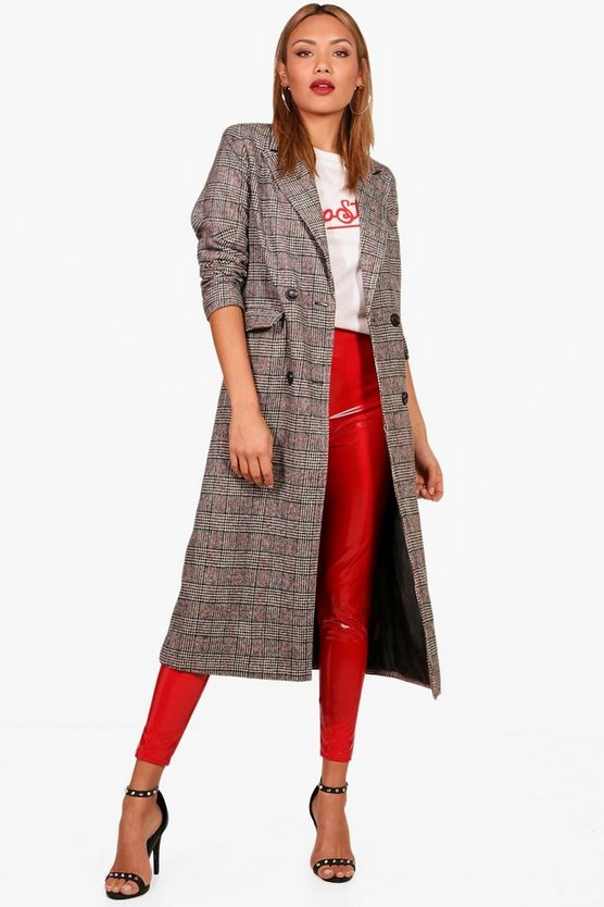 Emily Check Wool Look Coat