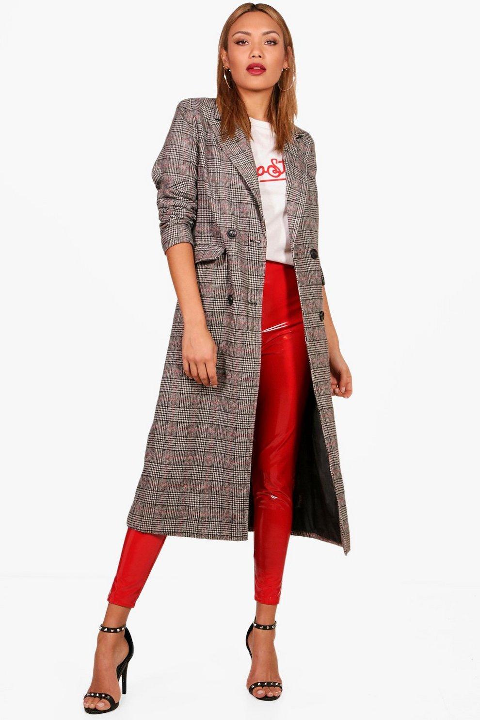 44077546b749 Womens Black Check Wool Look Coat