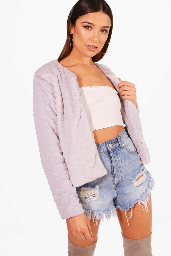 Crop Panelled Faux Fur Coat