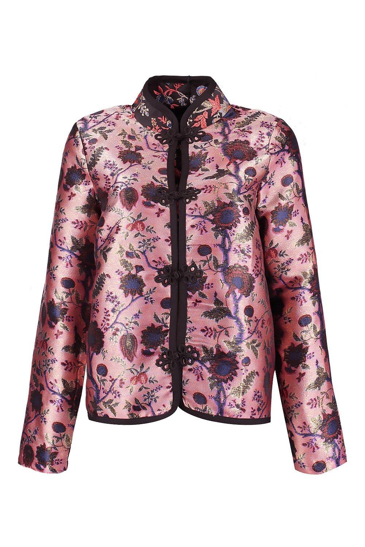 Metallic Jacket Oriental Jacket Metallic pink Oriental Metallic Metallic Oriental pink Jacket pink OwOrxqgv