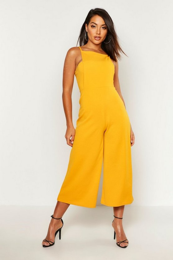 Womens Mustard Square Neck Culotte Jumpsuit