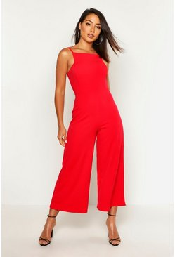 Womens Red Square Neck Culotte Jumpsuit