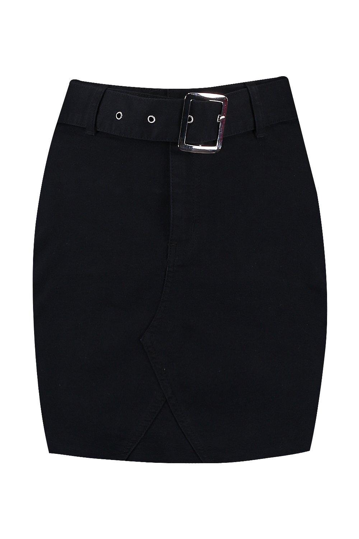 Mini black Micro Denim Belted Skirt qpB8Snw