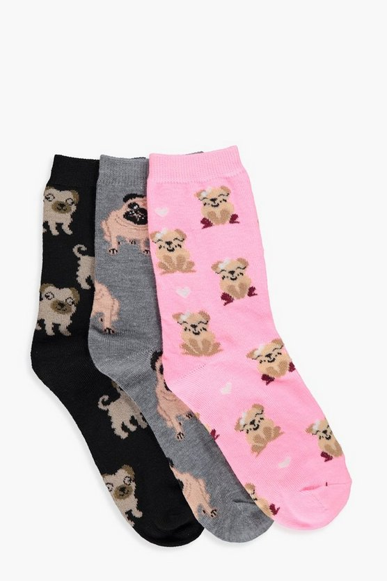 Ava Pug Print 3-Pack Ankle Socks