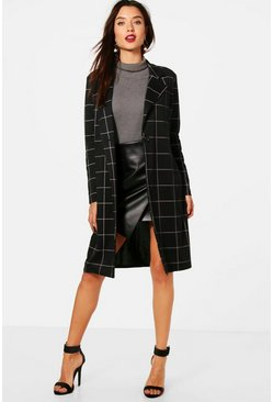 Womens Black Grid Check Duster