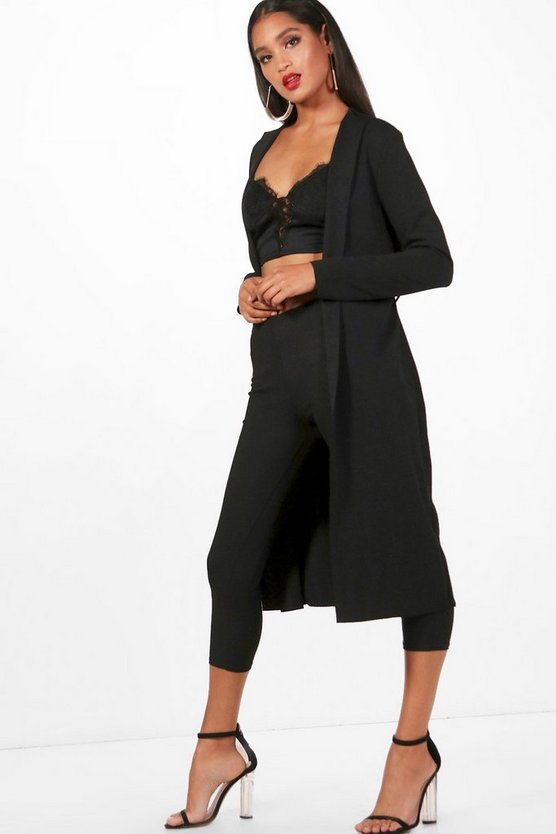 Womens Black Long Sleeve Tie Waterfall Duster