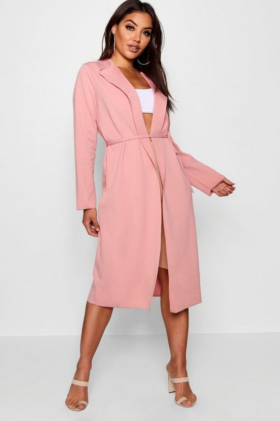 Long Sleeve Tie Waterfall Duster
