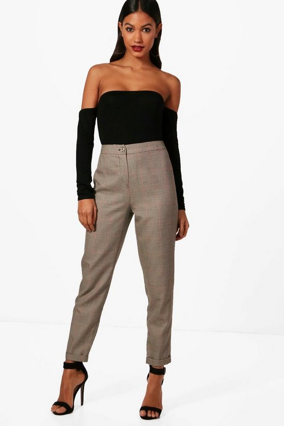 Womens Brown Checked Tapered Trouser