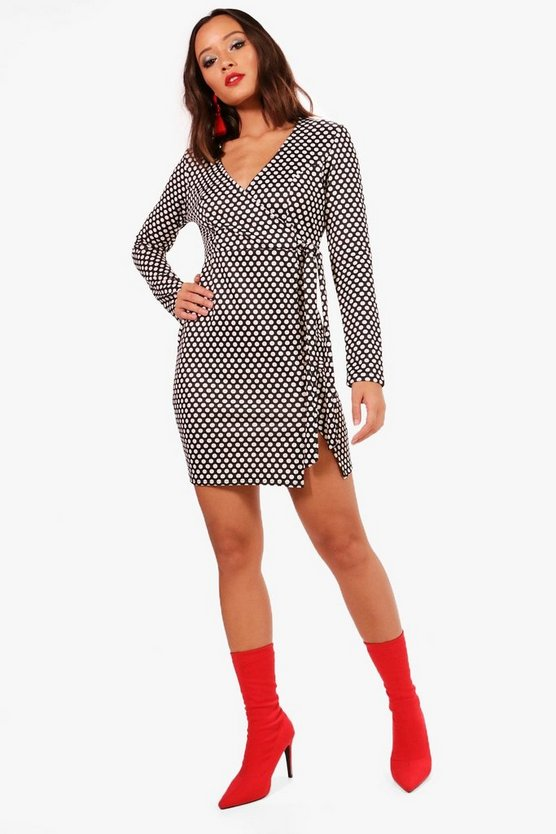 Womens Black Polka Dot Wrap Dress