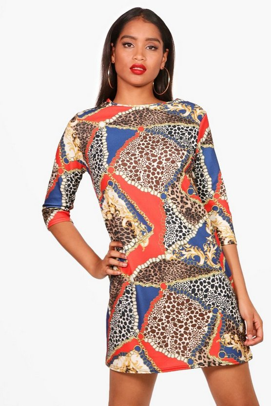 Leopard Print Mix 3/4 Sleeve Shift Dress