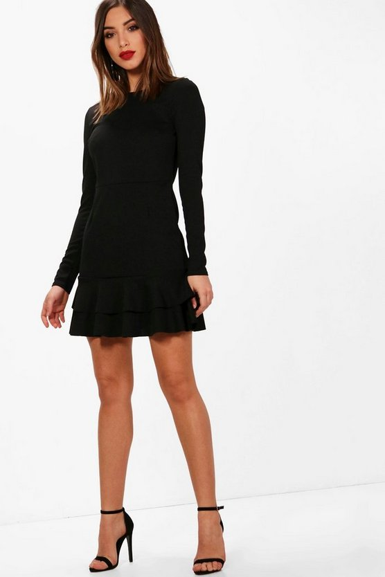 Womens Ruffle Hem Long Sleeve Dress