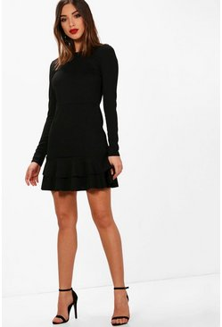 Womens Black Ruffle Hem Long Sleeve Dress