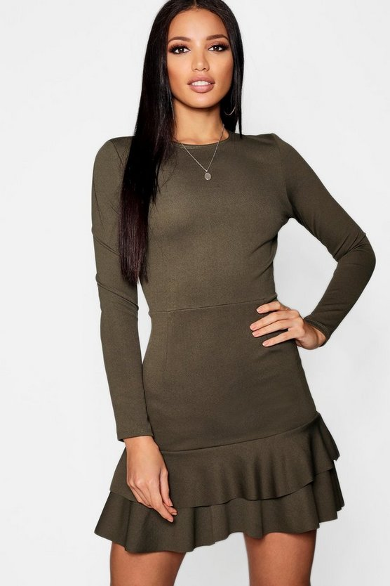 Ruffle Hem Long Sleeve Dress