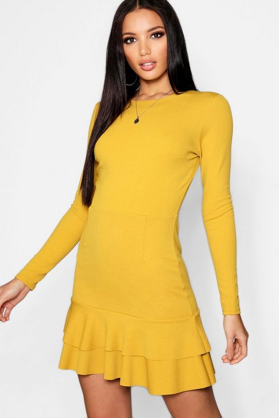 Womens Mustard Ruffle Hem Long Sleeve Dress