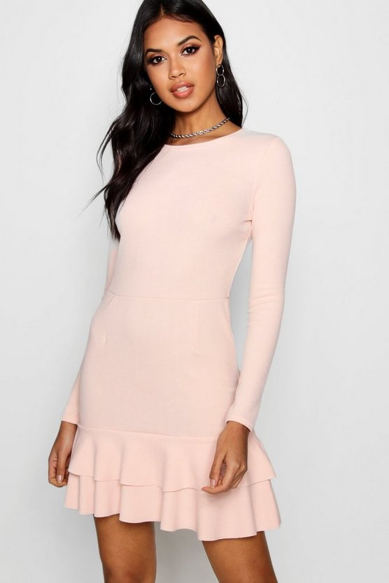 Womens Nude Ruffle Hem Long Sleeve Dress
