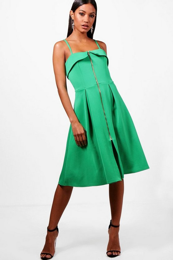 Bandeau Zip Front Midi Skater Dress