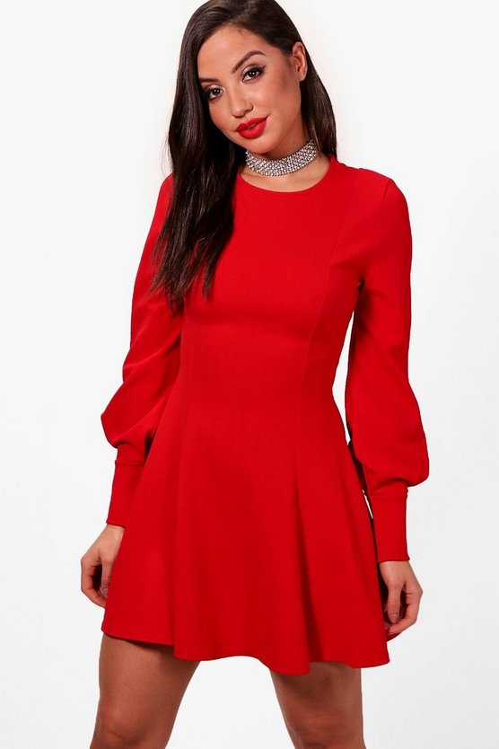 Blouson Sleeve Seam Detail Skater Dress