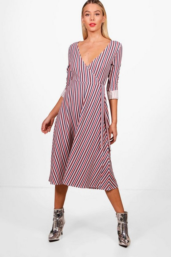 Stripe Tie Wrap Midi Skater Dress