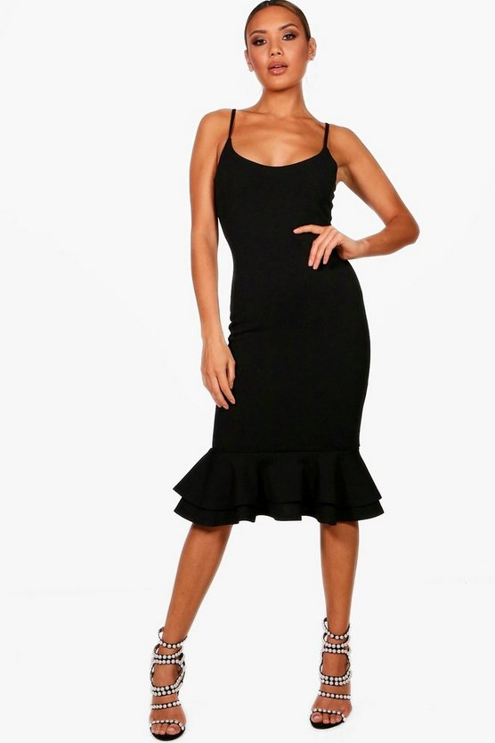 Black Strappy Layered Flute Hem Midi Dress