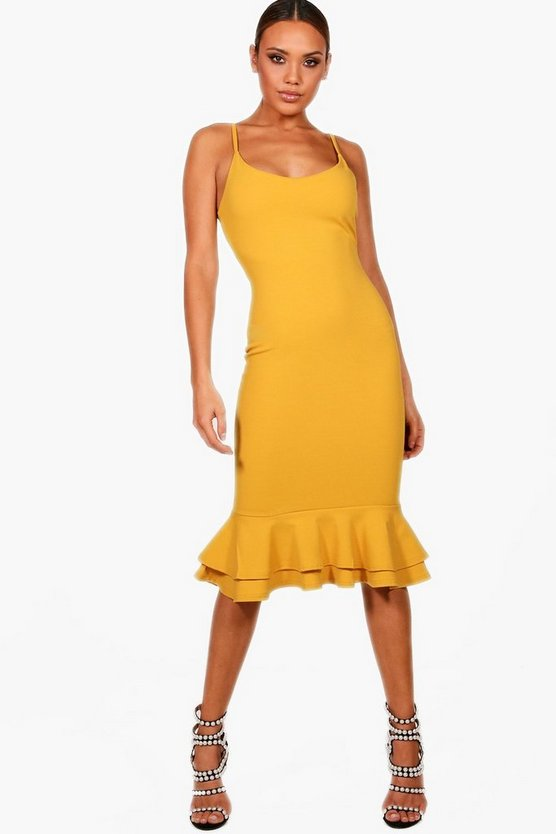 Joanna Strappy Layered Flute Hem Midi Dress