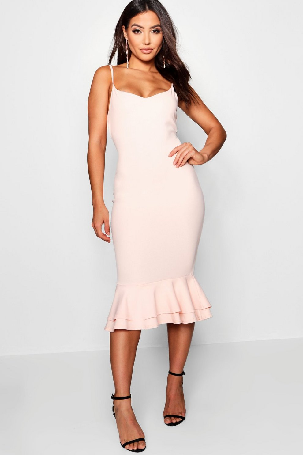 5f355c76f7 Strappy Layered Flute Hem Midi Dress | Boohoo