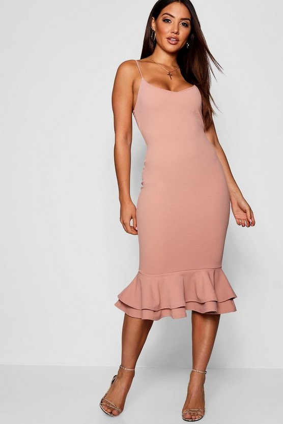 Strappy Layered Flute Hem Midi Dress
