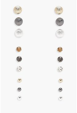 Simple Mixed Studs 9 Pair Pack, Multi, Donna