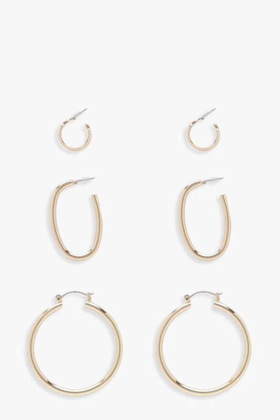 Ivy Multi Sized Hoops 3 Pair Pack