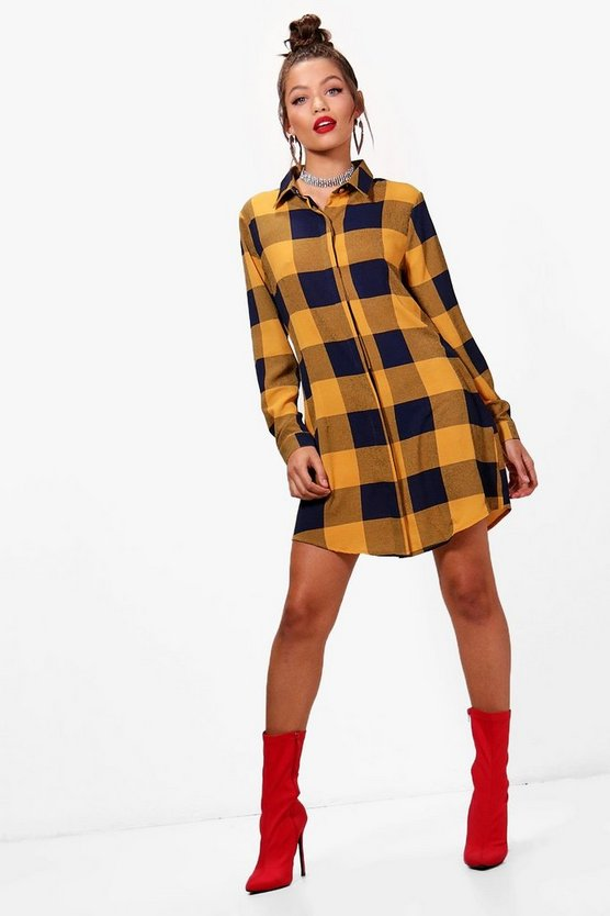 Checked Drawstring Shirt Dress